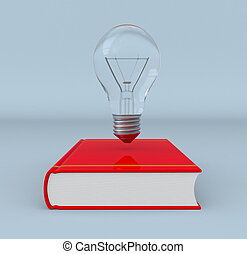 explore new ideas - front view of a book and a bulb, concept...