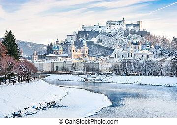 Salzburg in winter, Austria - Beautiful view of Salzburg...