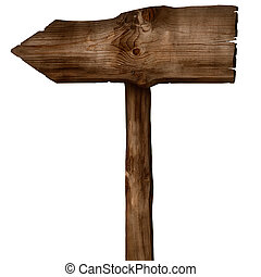 Wooden arrow sign - Wooden sign arrow isolated on white Wood...