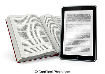 libro e nuove tecnologie - one open book and a tablet pc...