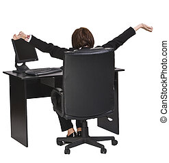 Business relaxation moment - Rear image of a businesswoman...