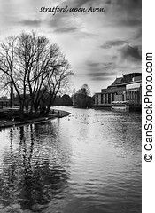 Stratford upon Avon B and W - View looking up river towards...