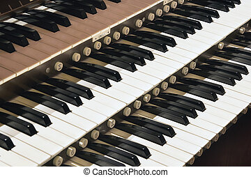 Church Pipe Organ Closeup - Church Pipe Organ Keyboard...