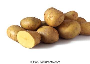 kilogram of potatoes isolated on white