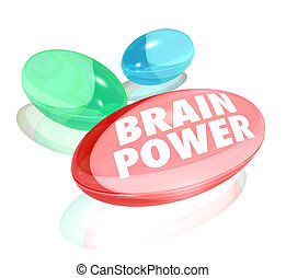 The words Brain Power on pills, capsules or vitamins to...