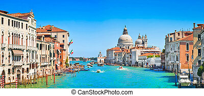 Canal Grande panorama in Venice - Panoramic view of Canal...
