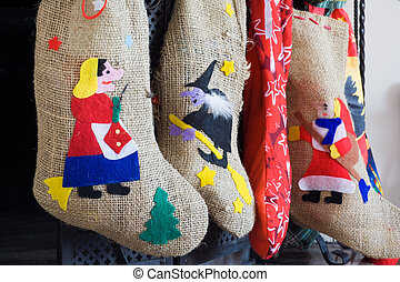 Colorful witch socks in epiphany - Epiphany witch socks in...