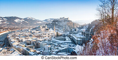 Panoramic view of the historic city of Salzburg in winter,...