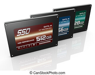 solid state drives - close up view of three solid state...
