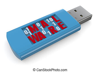 concetto di software infetto - one usb key carrying...