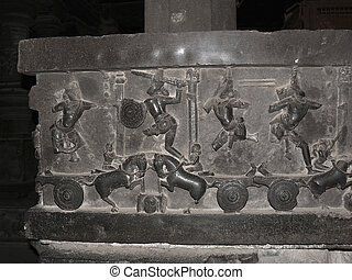 Mythic stories from Mahabharata are carved on walls of...