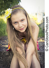 young teenage girl posing with a cute smile - young teenage...