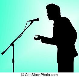 man silhouette speech to microphone