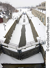 Rideau Canal - Sluice gate on Rideau Canal in winter time