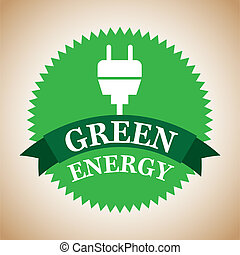 green energy label over vintage background vector...