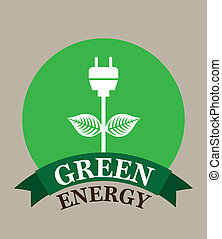 green energy over gray background vector illustration
