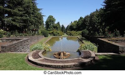 Water Fountain in Garden 1080p - View of a Tuscany Style...