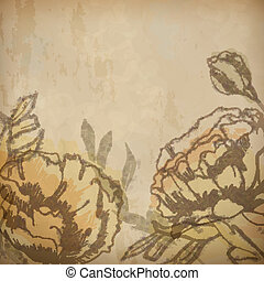 Vintage floral background with flowers drawing