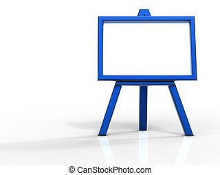 Blue easel front view - 3d rendering of blue easel on white...