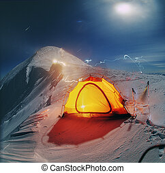 spending the night on the ridge of the mountain - The tent...