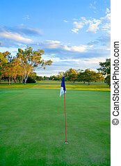 Golf Green and fairway - A golf course with flag and hole in...