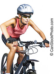 professional female cycling athlete riding mountain bike...