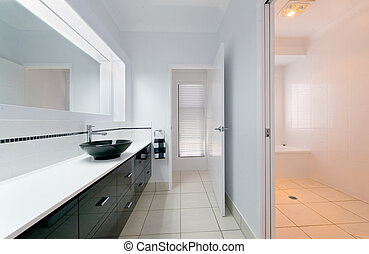 Modern Bathroom Interior - A very modern bathroom in an...