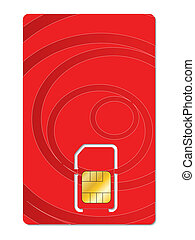 Abstract red sim card design