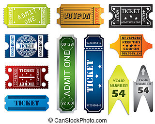 Various ticket set of 11 on white background