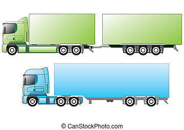 European trucks with different trailers - European trucks...