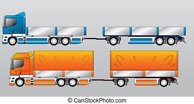 Truck with two and three axle trailers - Truck with two and...