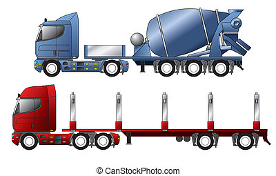 Trucks with mixer and timber trailer - European trucks with...