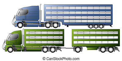 Trucks with animal transportation trailers - Trucks with...
