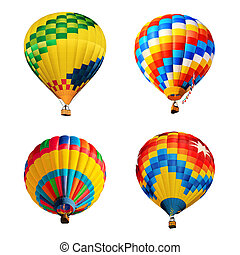 hot air balloons isolated on white
