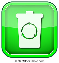 Green square shiny icon - Square shiny icon with white...