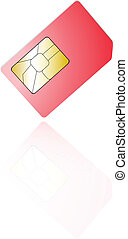 sim cards isolated on white background, with reflection (can...