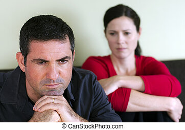 Couple relationship - concept photo - Portrait of unhappy...