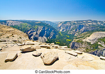 Loose rocks at the top of Half Dome - Glacier Point on the...