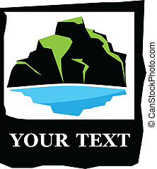 vector logo of mountain and lake