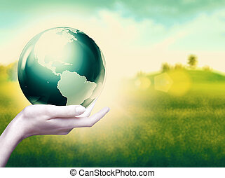 Whole world in your hands, abstract environmental...