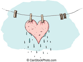Drying Heart - A pink heart dries on a clothes line.