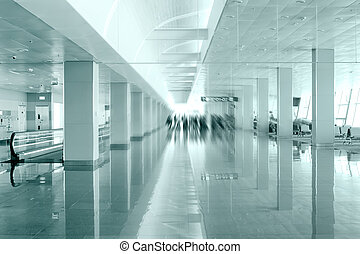 Travel concept. Passengers in the modern airport terminal