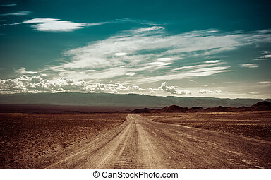 Empty rural road going through prairie under cloudy sky