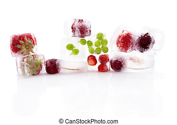 Fresh fruits. - Fresh fruits and vegetable frozen in ice...