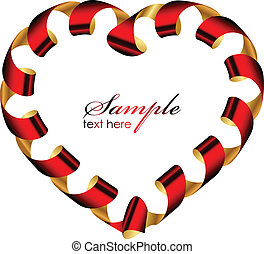 Vector heart frame from ribbon