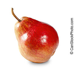 Red pear isolated on white