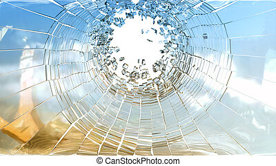 Bullet hole: pieces of shattered glass on white