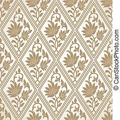 Golden seamless floral wallpaper