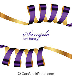 Vector purple and gold ribbon frame