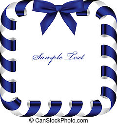 Vector frame with blue ribbon